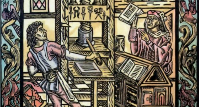 Gravure mexicaine du 16e siècle. La premiere imprimerie créée à Mexico en 1539. © G Dagli Orti, Paris