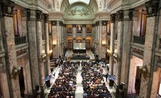 Ceremonia en el Salón de los Pasos Perdidos del Palacio Legislativo del Uruguay