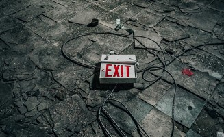 exit sign on floor