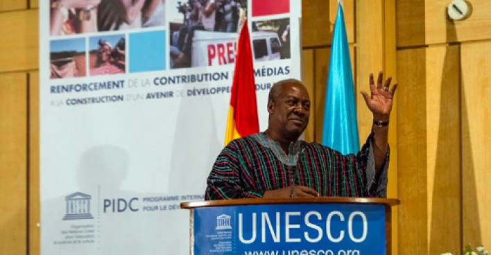 President of Ghana John Dramani Mahama addresses UNESCO.